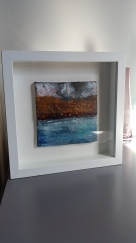 Art work brings light and a richness to a living room. Encaustic 'tactile'. Gower Peninsula. Jules Rymer Art.