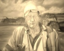 "This painting is called ""retiring soon"" oil on canvas 24""x 30"" this is from my on going mining series which will be exhibited next year along with a book of the miners stories."
