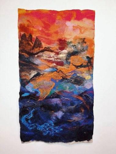Vivian Rhule - https://artsinthetawevalley.com/vivian-rhule-oil-multi-medium-abstract-prints-felted-landscape/