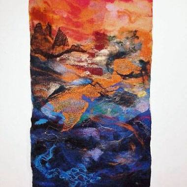 Vivian Rhule - https://artsinthetawevalley.com/vivian-rhule-oil-multi-medium-abstract-prints-felted-landscape/